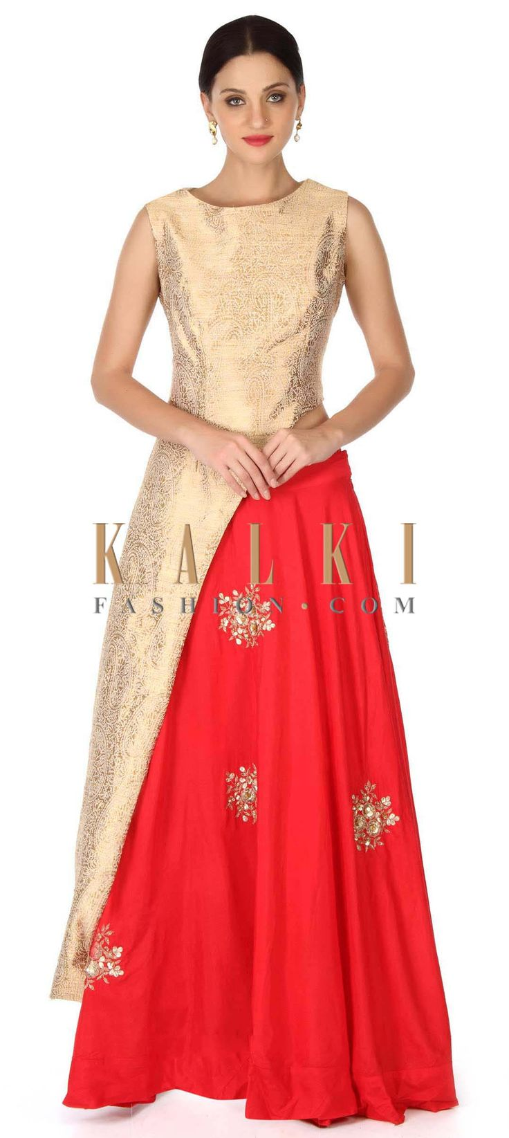Buy this Red lehenga adorn in sequin embroidered butti only on Kalki
