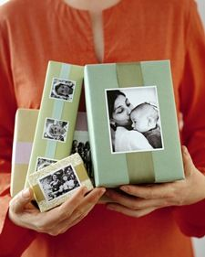 Sweet photo gift wrap idea.