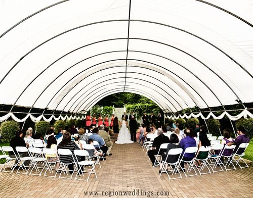 International Friendship Garden outdoor wedding ceremony in Portage, indiana. outdoors venue