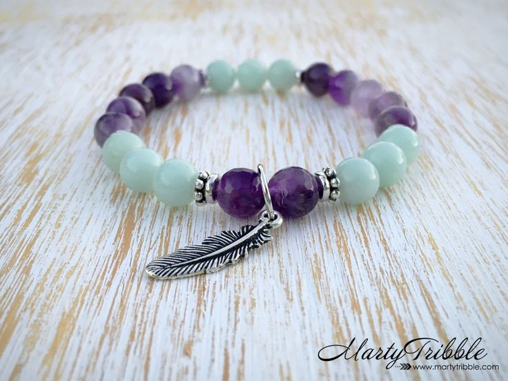 Amazonite Bracelet, Amethyst Bracelet, Feather Bracelet, Boho Jewelry, Yoga Bracelet, Tribal Jewelry, Mala Bead Bracelet, Healing Bracelet by MartyTribble on Etsy