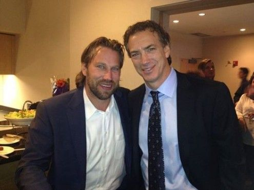 Joe Sakic and Peter Forsberg at the retirement of teammate Adam Foote's jersey Nov 2013. Courtesy of another teammate, Scott Parker.