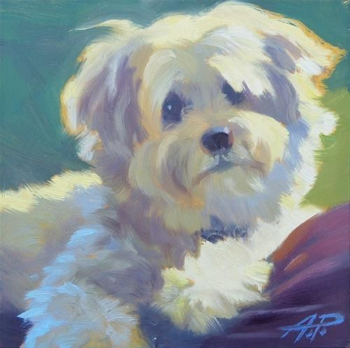 Simple dog paintings for Dog painting artist