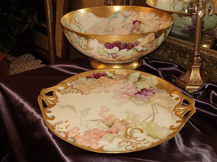 Incredible Limoges Grape Punch Bowl Set: Punch Bowl, Plinth/Base/Pedestal, Tray and 12 Cups