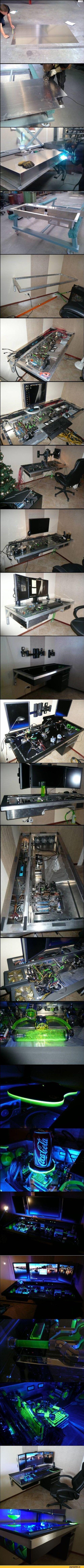 компьютер,системный блок в столе,песочница,geek,Прикольные гаджеты. Научный, инженерный и айтишный юмор