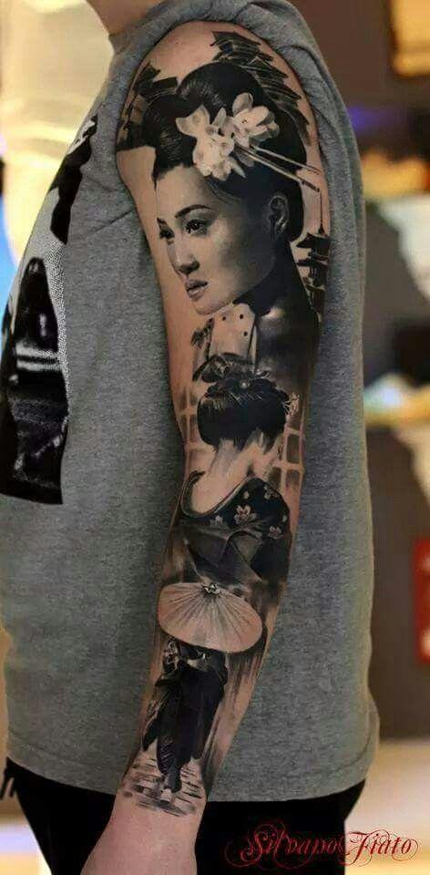 Geisha inspired sleeve tattoo