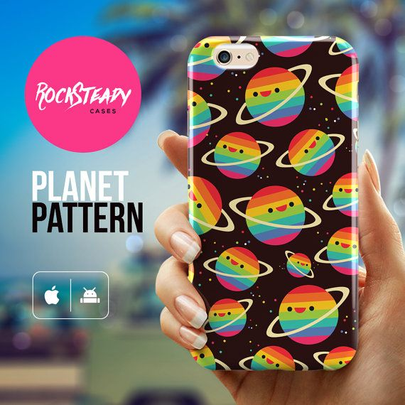 iPhone 6 Plus case - cute planets kawaii pattern iphone 6 Plus case by Rock Steady Cases. (Also available for phones other than the iPhone 6 Plus in the list below.)  Stylish, slim, durable and lightweight - includes a FREE screen protector.  Browse more Rock Steady Cases through the