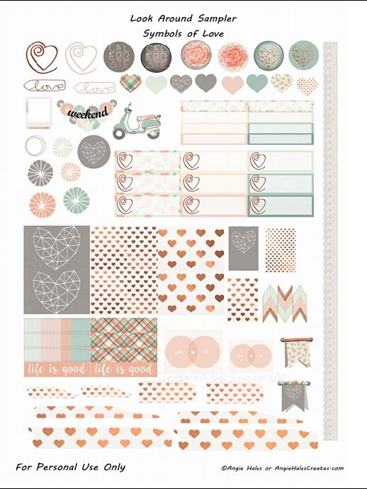 Planner & Journaling Printables ❤ FREE Look Around Sampler Symbol of Love Planner Sticker Printables- freebie by AMHales