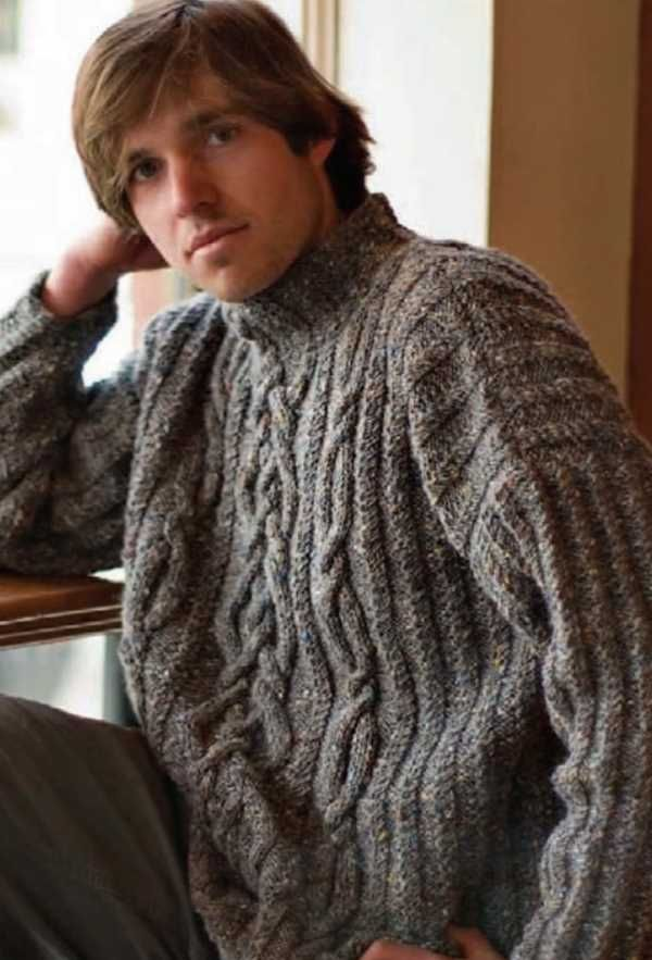 Free Knitting Pattern for a Rhapsody In Tweed Cable Sweater