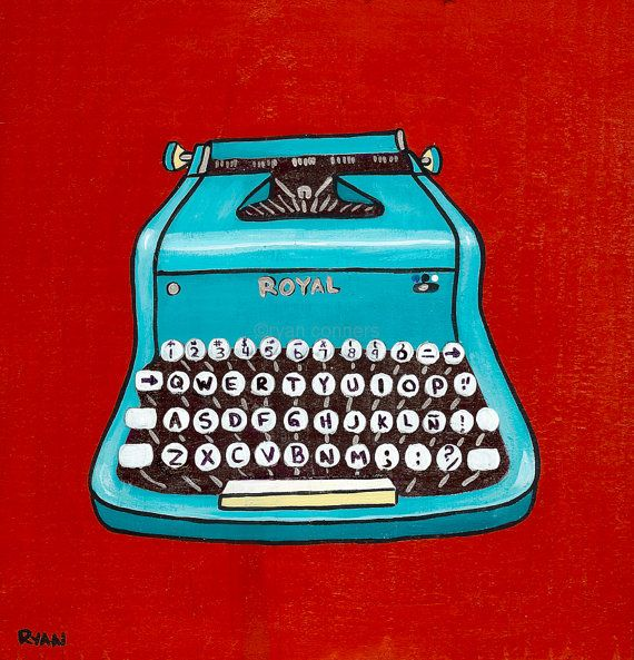 Bought this for the home office. Officially going with turquoise and red!    Turquoise Vintage Typewriter Original Folk Art by KilkennycatArt