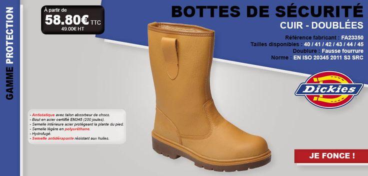 #dickies #botte #sécurité #chaussure #cuir #doublée #faussefourrure #antistatique #chocs #acier #semelle #hydrofugé #antidérapant #normes #travail #équipement #bricolage