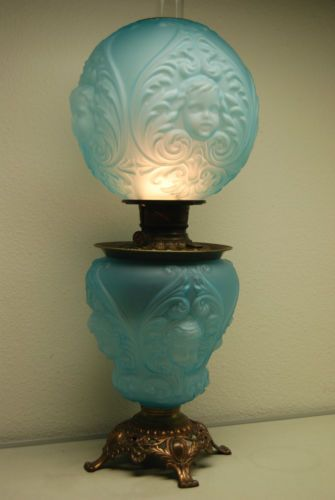 Antique Old Oil Kerosene Baby Face Angel Victorian Banquet Gwtw Parlor Lamp Un Angel And