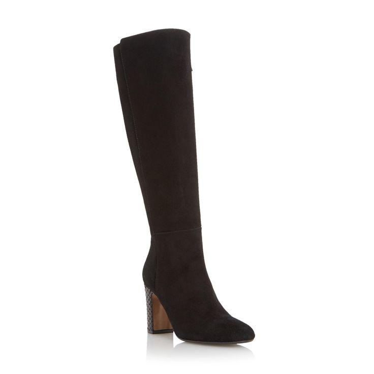 DUNE BLACK LADIES SURI - Suede Knee High Boot With Snake Print Heel - black | Dune Shoes Online