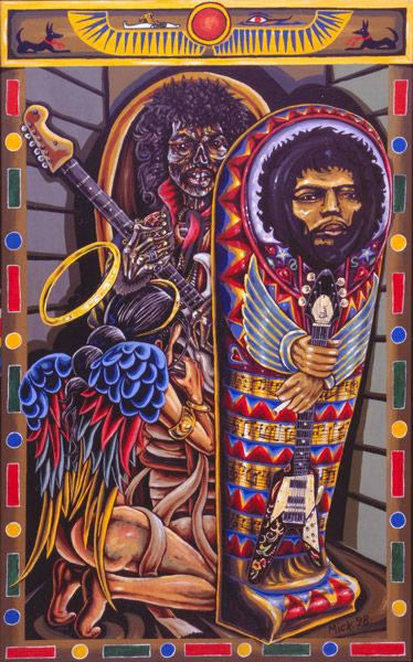 'Jimi Hendrix Resurrected' Acrylic Painting by Mike Hawthorne 1998