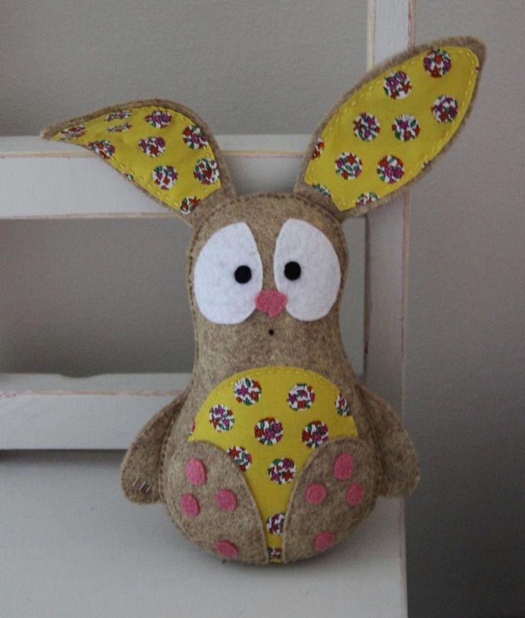 Rabbit felt toy (yellow) - gift, bunny