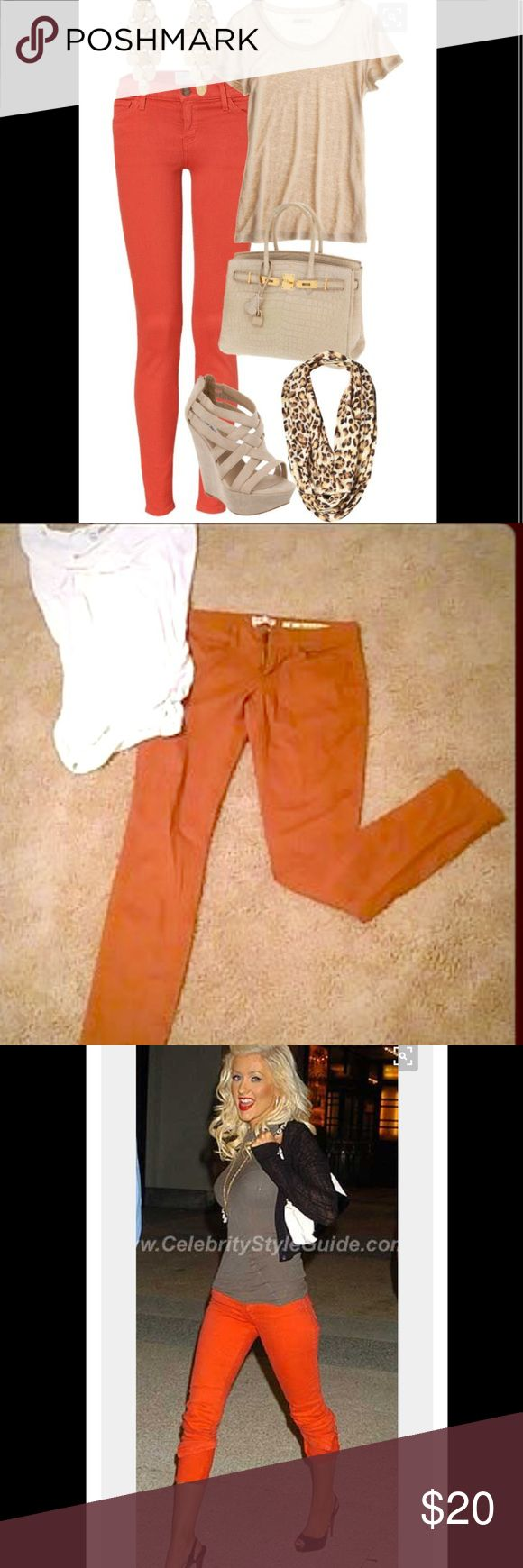 New-Burnt Orange Skinny Jeans 🍊😍 New-Burnt Orange Skinny Jeans 🍊-Never worn. How cute are these??!! Absolutely love this type of jeans & the color is so trendy!! These are hot!! Especially with a cute pair of kitten heels!! You will absolutely loveeeee!! Bundle & Save!! 😍🍊🍊 Indigo Rein Jeans Skinny