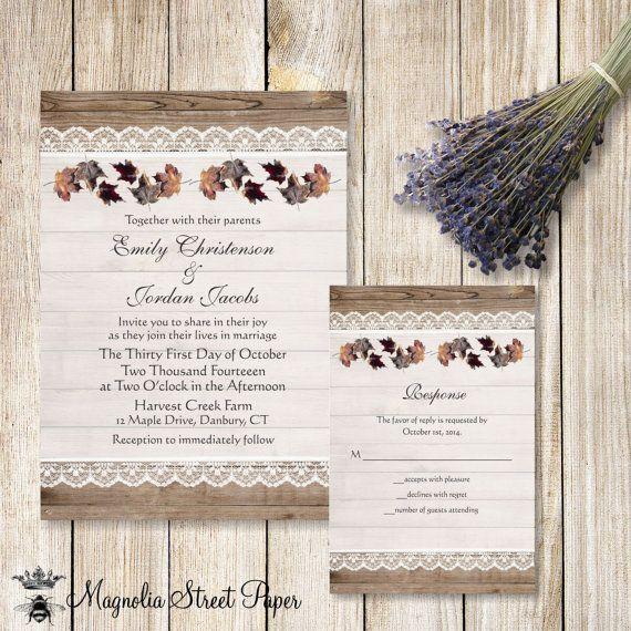 Fall Leaves Wedding Invitation Rustic Autumn Invitations Wood And Lace