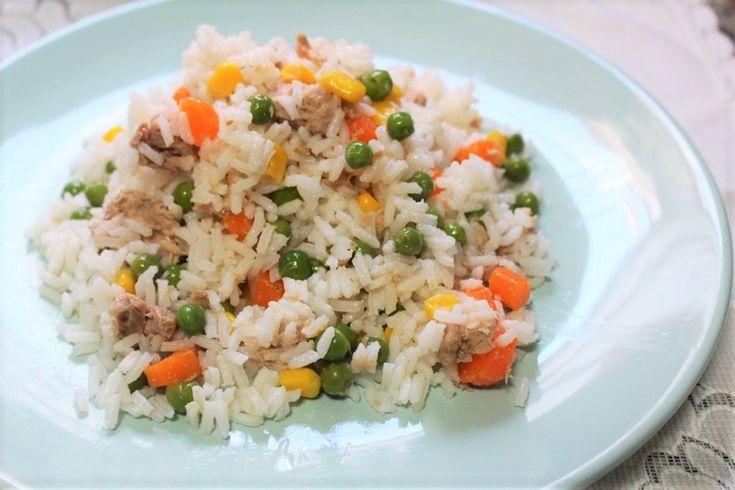 Ensalada de arroz largo con verduras
