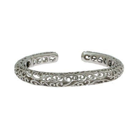 Designer Style Vintage Scrollwork Silver Cuff Bracelet Eve's Addiction. $185.00. Metal Finish: rhodium-finished-sterling-silver. Approximate Weight: 27 grams