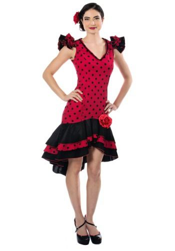 This Women's Spanish Dancer Costume is a sassy look with a classic Flamenco style.
