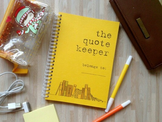 The Quote Keeper IDR 99.000  To keep your favorite quotes near.  Cover 220gr Sunshine Casablanca Paper (with texture) Inside: 85 gr brown colour paper printed in full colour. Ink: water and fade resistant A5 (approx. 15cm x 21cm) 128 pages back and forth.  Available to order. Indonesia only. Leave a comment :)