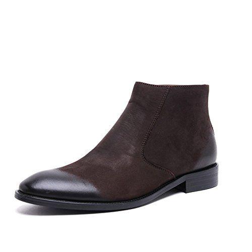 Zorgen Nubuck Leather Men's Boots Zipper Dress Wedding Fo…