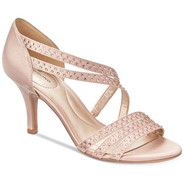 Bandolino Meggie Dress Sandals ($69) ❤ liked on Polyvore featuring shoes, sandals, champagne satin, bandolino, rhinestone sandals, champagne shoes, asymmetric shoes and rhinestone shoes