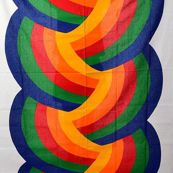 Vintage 70s Finlayson Rainbow Swirl Fabric by CkshopperVintage
