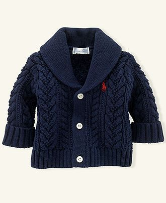 Ralph Lauren Baby Sweater, Baby Boys Aran Cable Shawl-Collar Cardigan - Kids Baby Boy (0-24 months) - Macy's