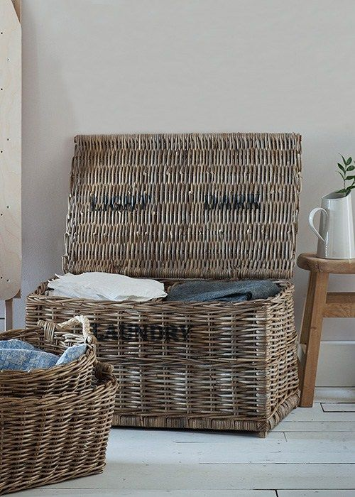 Wicker Basket With Sections : Lights and darks laundry basket crafted in rattan with