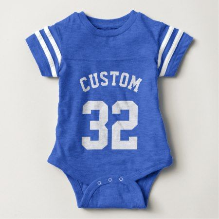 Royal Blue & White Baby | Sports Jersey Design Baby Bodysuit - click to get yours right now!