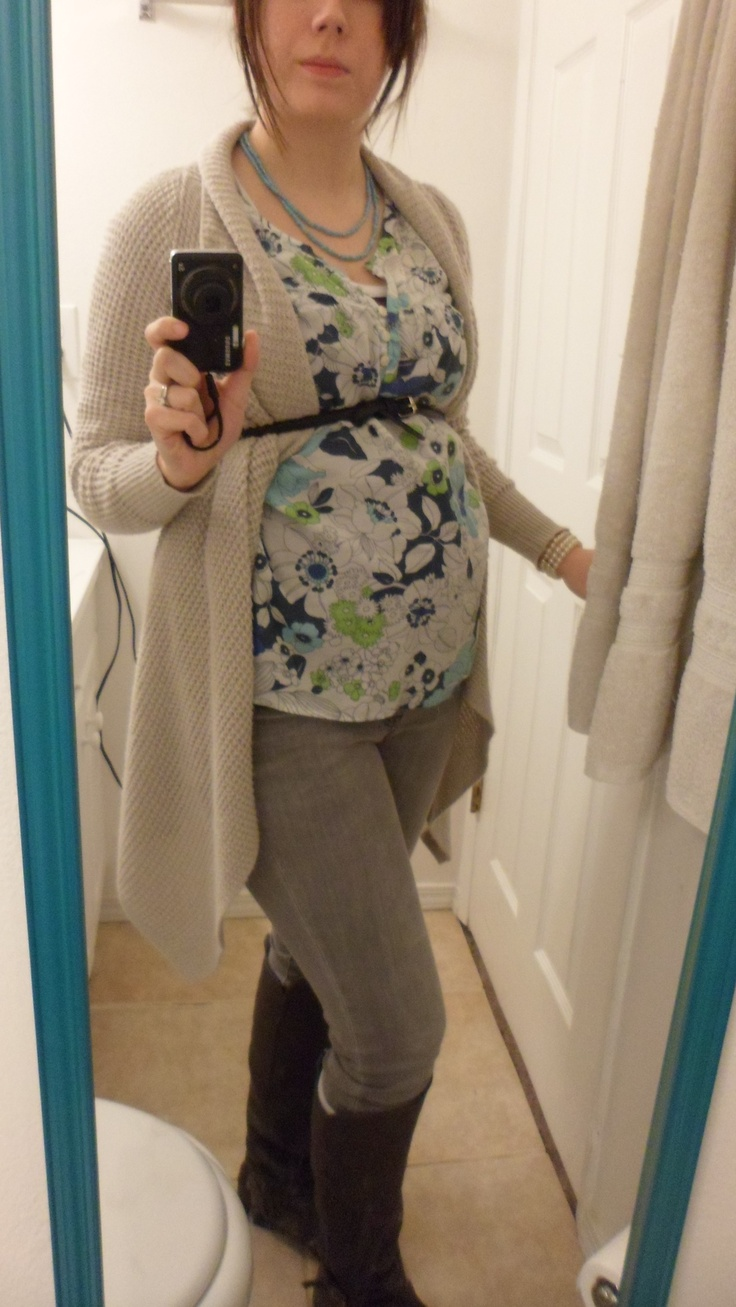 Not Maternity clothes. Old Navy shirt and Cardi. Old Naby boots. Gap pants. H belt. 18 weeks