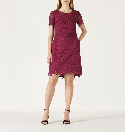 DAVID LAWRENCE   Short Sleeve Ash Lace Dress