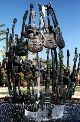 Hard Rock Hotel Guitar Fountain (42 bronze Gibsons and Fenders)