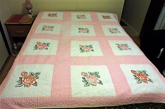 VINTAGE HAND MADE 100% COTTON QUILT - Mid Century Red N Pink Embroidered Roses Bed Quilt/Hand Embroidered/Hand Pieced/Hand Quilted/100 Percent Cotton/Quilt Without Batting