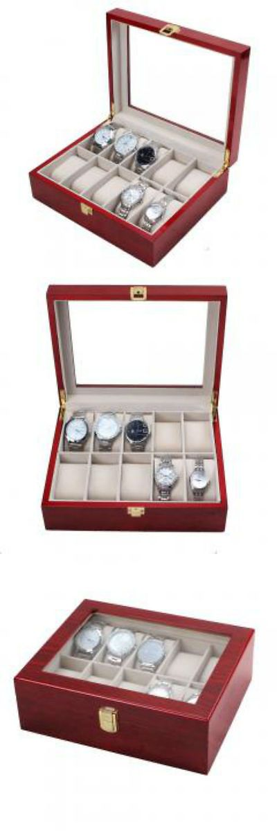 Watch 168164: 10 Slot Cherry Wood Watch Display Case Glass Top Jewelry Storage Box Gifts BUY IT NOW ONLY: $69.97
