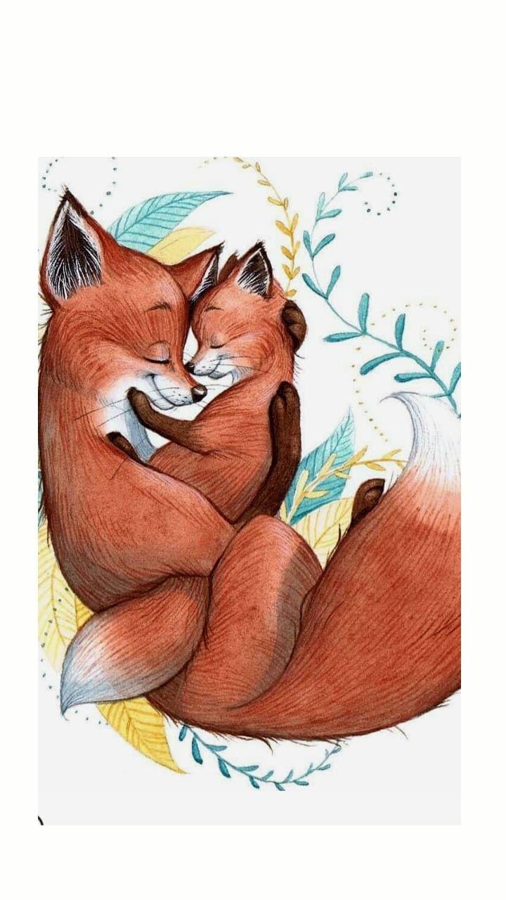 Мамы, открытка лисенок и лиса