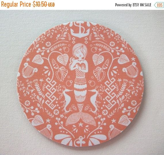 Sale  Mouse Pad mousepad / Mat  round  coral mermaid  by Laa766  chic / cute / preppy / computer, desk accessories / cubical, office, home decor / co-worker, student gift / patterned design / match with coasters, wrist rests / computers and peripherals / feminine touches for the office / desk decor