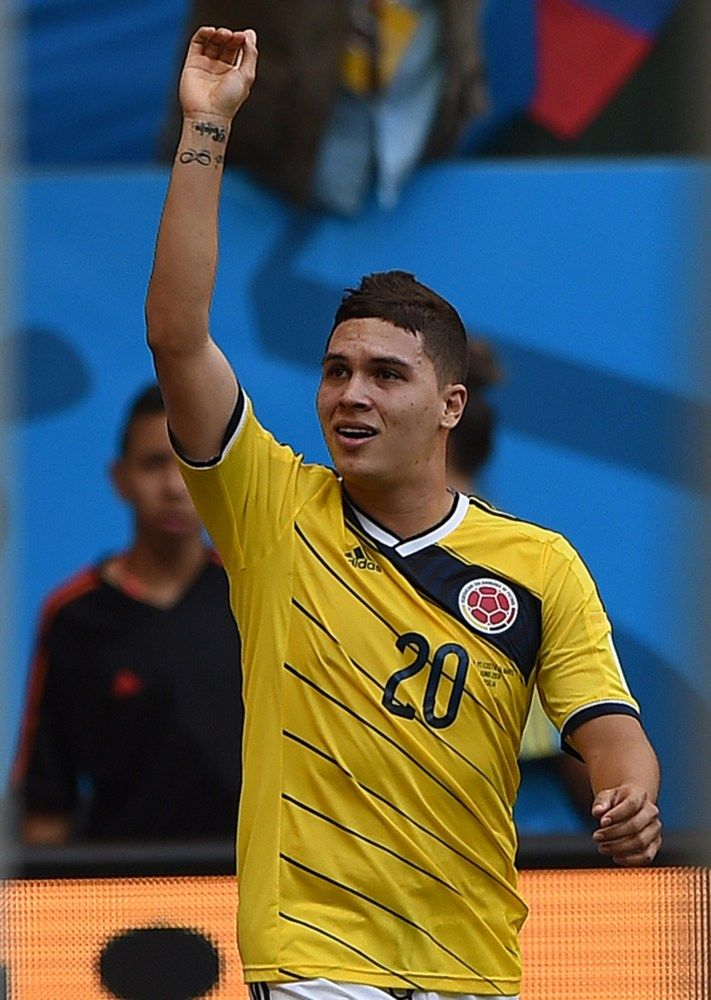 Colombia Holds Off Ivory Coast 2-1 In Furious Finish At World Cup - Colombia's midfielder Juan Fernando Quintero celebrates after scoring his team's second goal during the Group C football match between Colombia and Ivory Coast at the Mane Garrincha National Stadium in Brasilia during the 2014 FIFA World Cup on June 19, 2014.