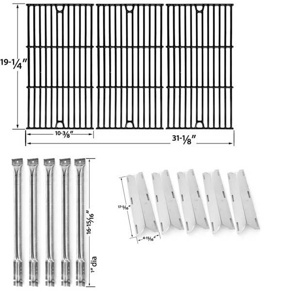 2 PACK REPLACEMENT REPAIR KIT FOR CHARMGLOW 720-0396, 720-0578 FIVE BURNER GAS GRILL – 5 STAINLESS STEEL BURNERS, 5 STAINLESS HEAT SHIELDS AND PORCELAIN CAST COOKING GRATES  Fits Char-Broil Models:- 720-0396, 720-0578  BUY NOW @ http://grillrepairparts.com/shop/grill-parts/replacement-repair-kit-for-charmglow-720-0396-720-0578-five-burner-gas-grill-5-stainless-steel-burners-5-stainless-heat-shields-and-porcelain-cast-cooking-grates-set-of-2/