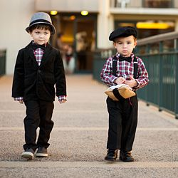 Stellar Galveston wedding featuring stylish ring bearers complete with suspenders and hats