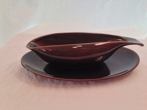 Russel Wright American Modern gravy boat and underplate in black chutney on Etsy, $25.00