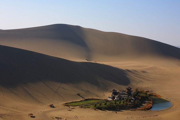 Crescent Lake in the Gobi Desert