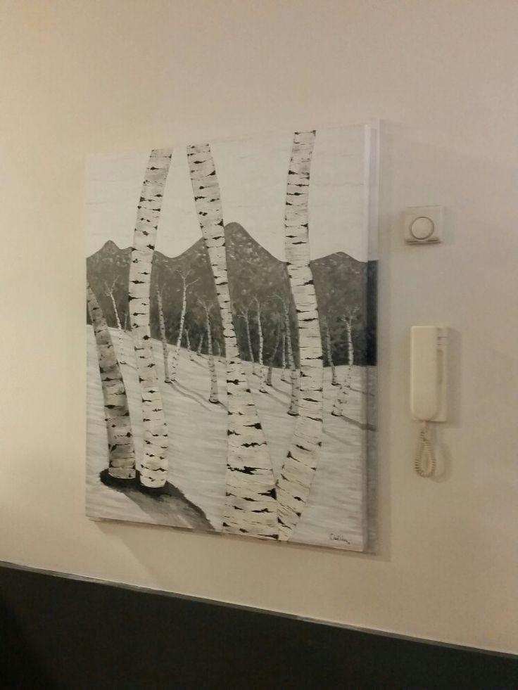 """Copertura per quadro elettrico. """"Le betulle"""" acrilico su tela  By Annalisa Tombesi"""