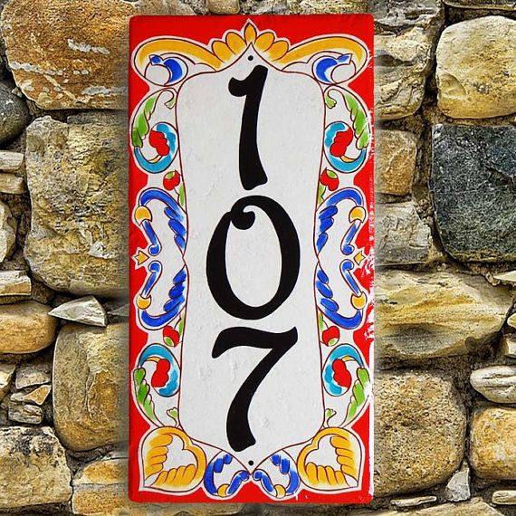 Decorative Vertical Ceramic House Number Plaque House Numbers