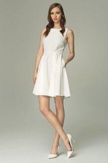 MISEBLA ecru rozkloszowana sukienka