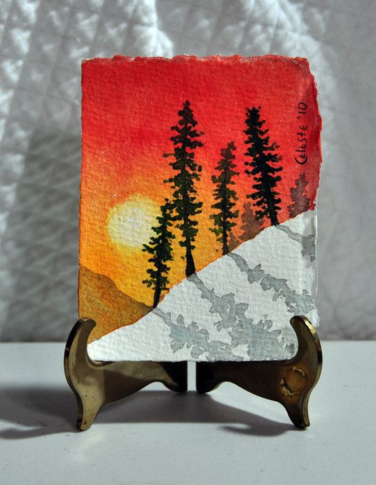 Original Miniature Watercolor Painting, Winter Trees with Snow and Sunrise. $25.00, via Etsy.