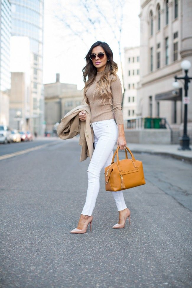 Favorite Camel Bag. Topshop Coat. Asos Top. Nasty Gal Jeans. Christian Louboutin 'So Kate' Heels. GiGi New York Bag.