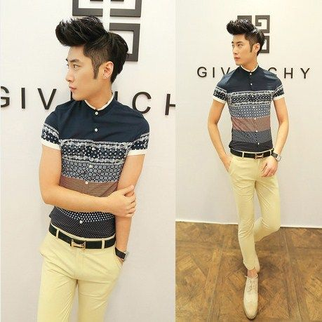 Ethnic Print 2014 Hot Model Stylish Stand Collar Shirt Boy/Mens Boutique Casual Shirt Good Quality Wholesale $20.99
