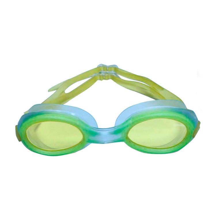 Kinder Chloorbril Geel. SportX Kids zwembril Pro, met PVC frame uit é én stuk, dubbele silicone hoofdband, polycarbonaat lenzen, UV bescherming en anti–fog systeem. Afmetingen: 13 x 4 x 3 cm. - Kinder Chloorbril Geel