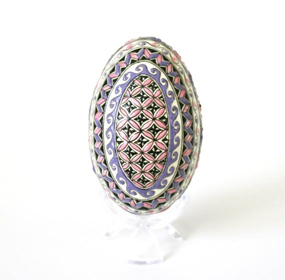 Pink and Purple Pastel Egg by EggArtbyAngela on Etsy, $130.00
